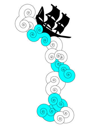 Vector of ship sailing on blue and white swirly clouds