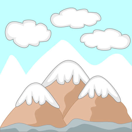 Vector of three mountains with snow caps, clouds and larger mountains in the background