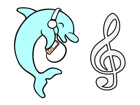 Vector of dolphin with headphones and MP3 with music symbol