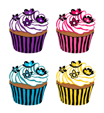 Vector designs of cupcakes with flower shapes on top Illustration