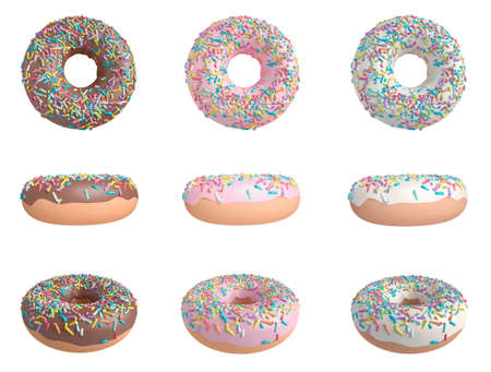 3D illustration of fun donuts in strawberry, chocolate and vanilla Stock Photo