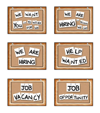 Illustration of Job Opportunity boards with fun characteristics