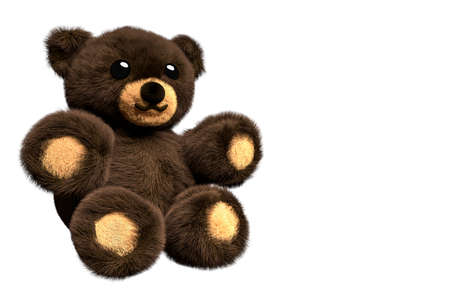 3D Render of a brown fluffy teddy bear on isolated background with negative space