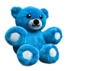 3D Render of a blue fluffy teddy bear on isolated background with negative space