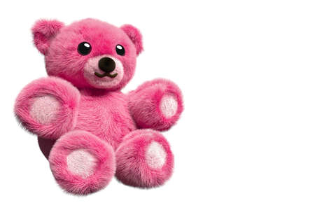 3D Render of a pink fluffy teddy bear on isolated background with negative space
