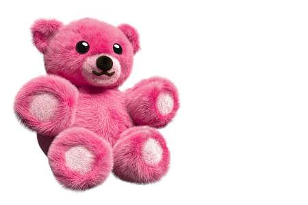 Rendu 3D d'un ours en peluche rose sur fond isolé avec espace négatif Banque d'images - 81264473