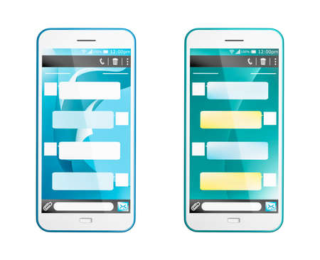 3D render of a text message in two styles on a smartphone that can be customized