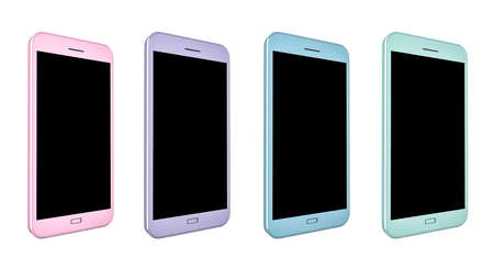 3D render of smartphones with blank screens in pink, purple, blue and green