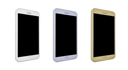 3D render of smartphone with blank screen in white, silver and gold