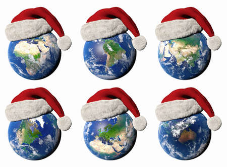 3D illustration of the Earth wearing a Santa hat showing the different continents Stock Photo