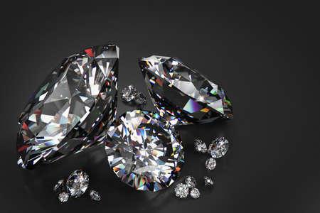 3D rendered illustration of diamonds on a slightly reflective black background
