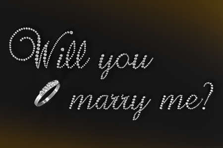 3D render of words Will you marry me? in diamonds on black background