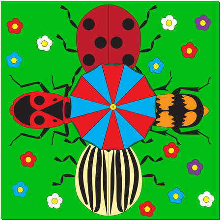 Four beetles on the green meadow with flowers