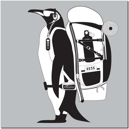 Black and white penguin Hiking backpack on a gray background Иллюстрация