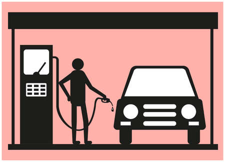 Siluet man who pours fuel into the gas tank of the car.  イラスト・ベクター素材