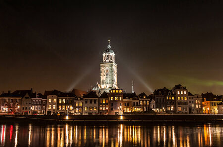 ijssel: Deventer at night view from the other side of the Ijssel with the Lebuinuschurch