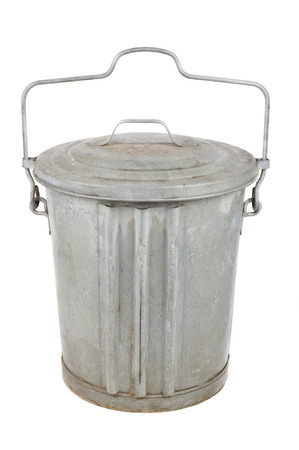 garbage can: Old galvanized metal garbage can with lid and handle isolated on white