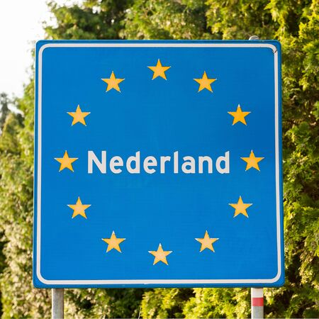 un: UN border sign in the Netherlands Stock Photo