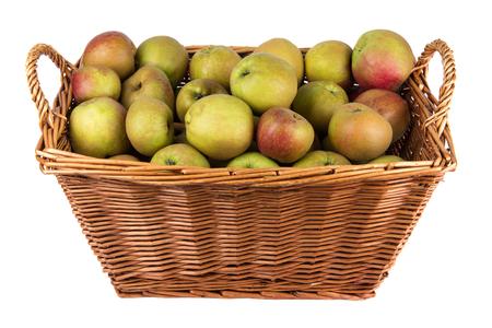 bushel: Basket of apples on stock isolated on white Stock Photo
