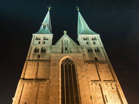 Deventer at night with the twintower Bergchurch Stock Photo