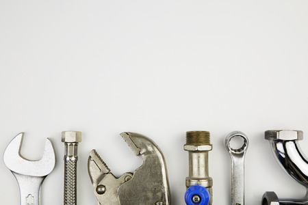 pipe wrench: overhead of an essential tool kit for plumber Stock Photo