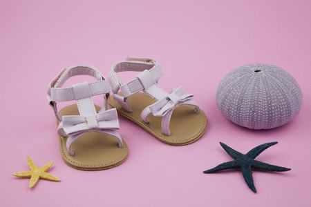 estival: portrait of a pair of baby girl sandals