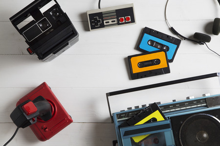 electronic 80s: overhead of a series of electronic equipment in vogue in the 80s