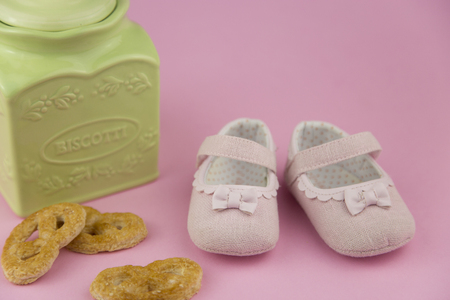 velcro: portrait in provencal style of a pair of little girl shoes
