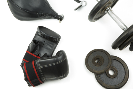 overwhite: the equipment isolated portrait of a boxer