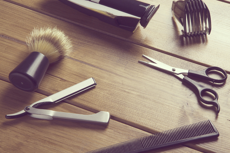 portrait of barber tools on wood top 版權商用圖片