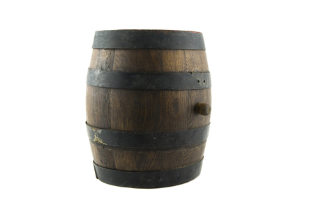 fermenting: isolated on withe portrait of old wooden barrel Stock Photo