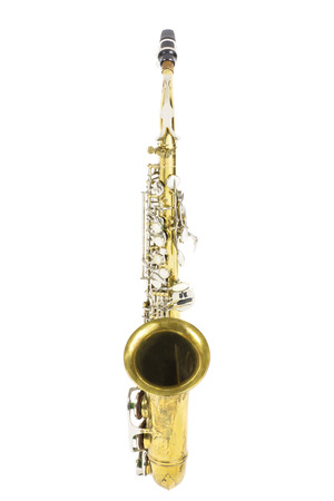 frontal view of a gold and silver brass saxophone in white background