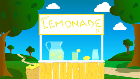 vector rendering of a stand, made by children, in the open air for the lemonade Ilustração