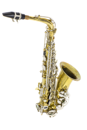gold and silver brass saxophone in white background