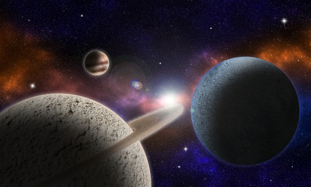 Illustration that portrays a fantastic cosmic scenery with planets, their rings and satellites, and a flare that illuminates the scene