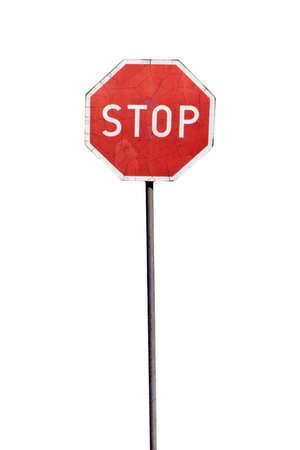 Damaged stop sign, isolated on the white background photo
