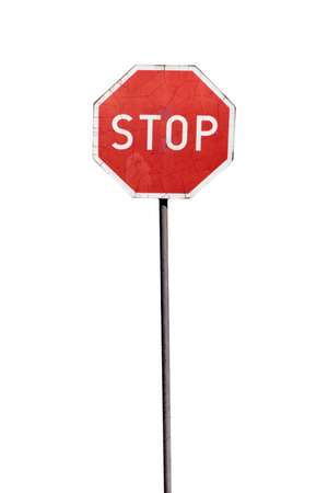 metal sign: Damaged stop sign, isolated on the white background Stock Photo