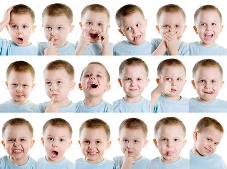 gezichts uitdrukkingen: Jongen, waardoor verschillende gezichten