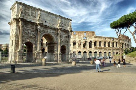 stone arches: The Colosseum and The Arch of Titus in  Rome, hdr picture Stock Photo
