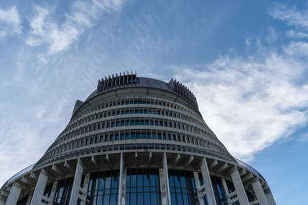 New Zealand Parliament House in Wellington commonly called the Beehive Stockfoto
