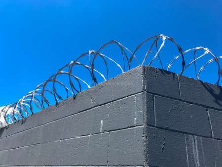 Metal circular ring barbed wire attached to the top of a grey wall with a clear blue sky above on a bright sunny day 写真素材 - 118459056