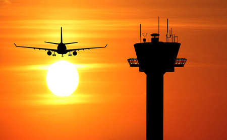 sun set plane control tower