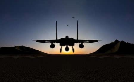 fighter jet: fighter jet landing Stock Photo