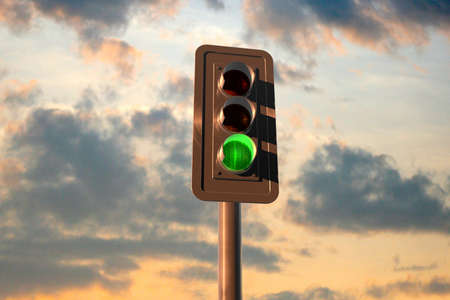stop and go light: Traffic lights at sunset