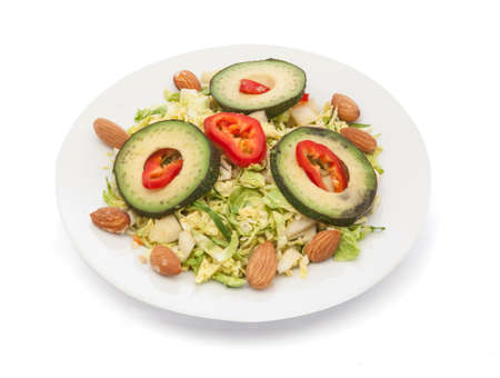 leguminosas: healthy almonds salad on the white backgound
