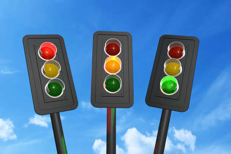 Traffic lights red, yellow and green over sky background 3D rendering