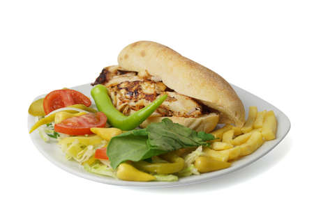 donner: Turkish traditional chicken donner kebab