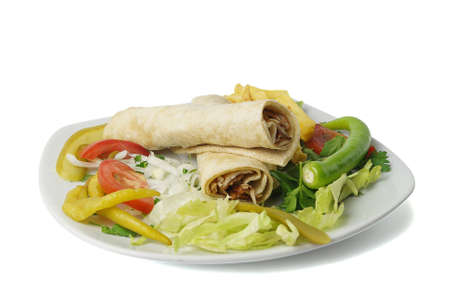 donner: Turkish traditional wrapped chicken donner kebab