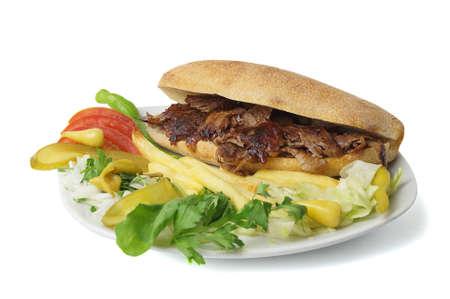 donner: Turkish meat donner kebab and garniture