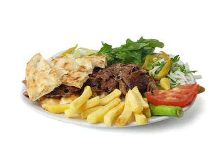 donner: Meat donner kebab with garniture